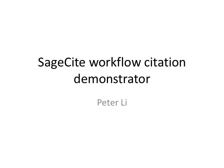 SageCite demonstrator overview