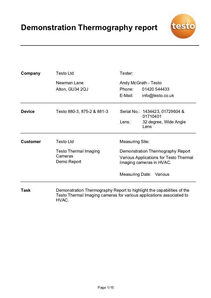 Demonstration Thermography reportCompany    Testo Ltd                        Tester:           Newman Lane                ...