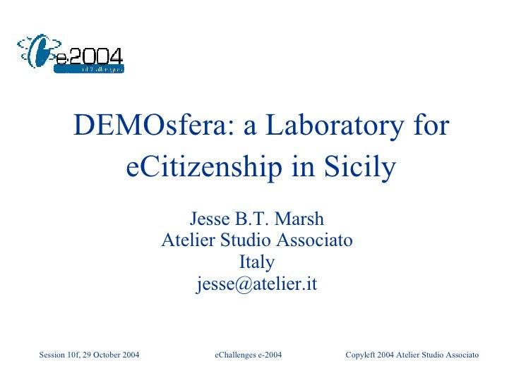 DEMOsfera: a Laboratory for eCitizenship in Sicily