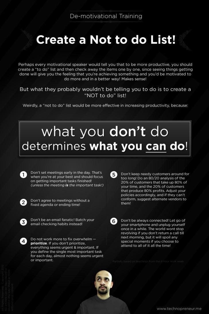 Create a Not to do list! ~De-motivational Training~