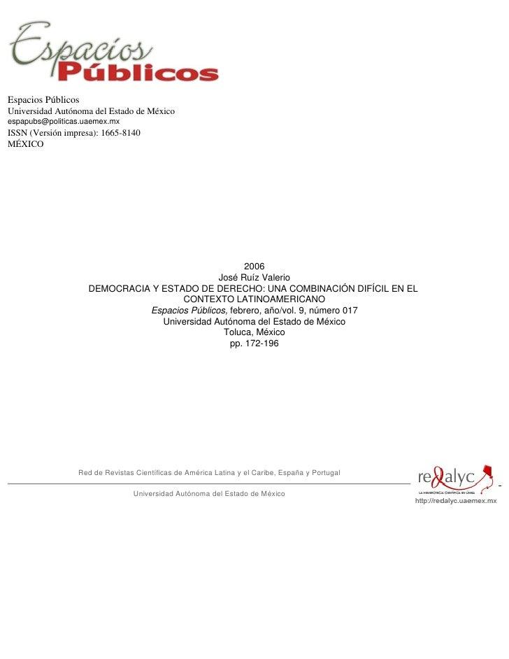 Espacios Públicos Universidad Autónoma del Estado de México espapubs@politicas.uaemex.mx ISSN (Versión impresa): 1665-8140...