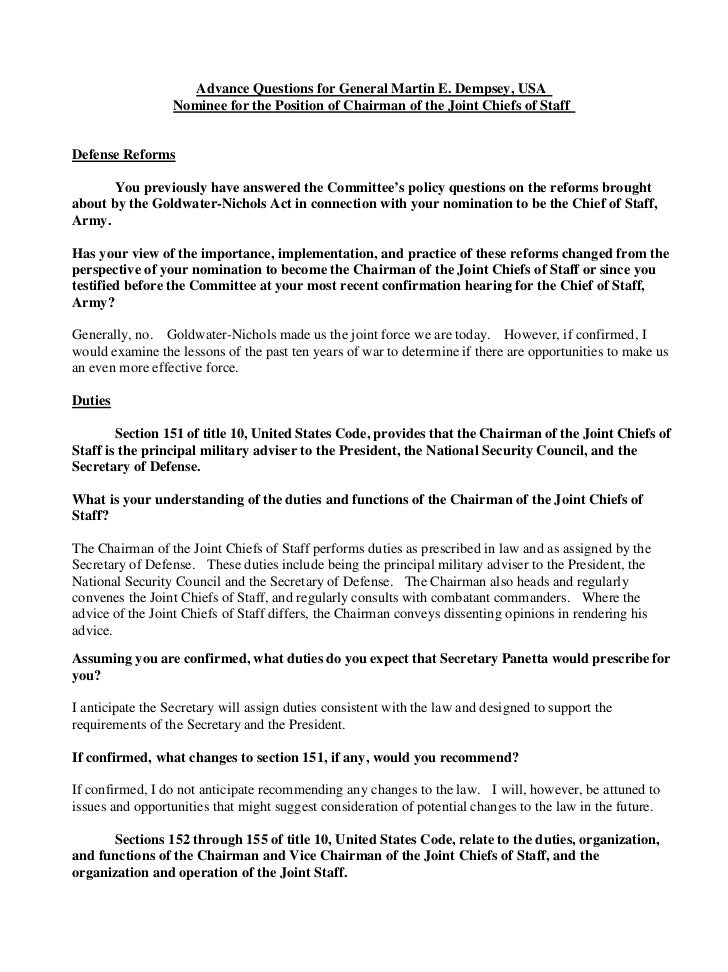 General Dempsey - Answers to Senate Armed Svcs Cmte Advance Policy Questions on Nomination to be Chairman, Joint Chiefs