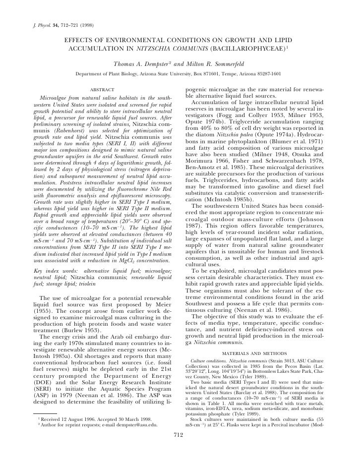 J. Phycol. 34, 712–721 (1998)                EFFECTS OF ENVIRONMENTAL CONDITIONS ON GROWTH AND LIPID                 ACCUM...