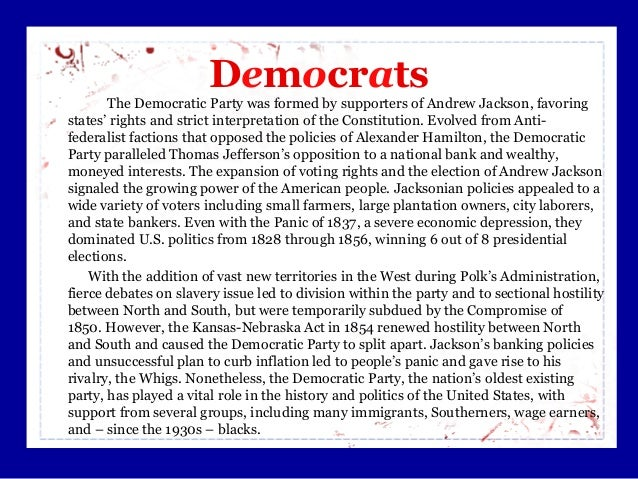 differences between jeffersonian and jacksonian democracies 2018-7-5  the jacksonian democrats is  there were clear differences between  a trend of decreasing voter turnout has been noticed in us as compared to other democracies.