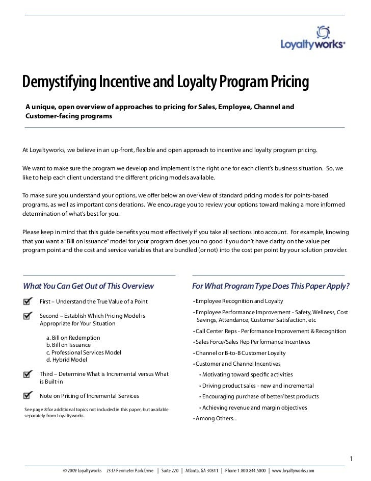 Demystifying Incentive and Loyalty Program Pricing A unique, open overview of approaches to pricing for Sales, Employee, C...
