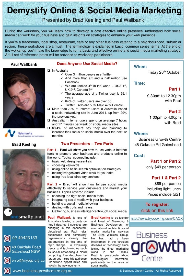Demystify Online & Social Media Marketing workshop flyer 01