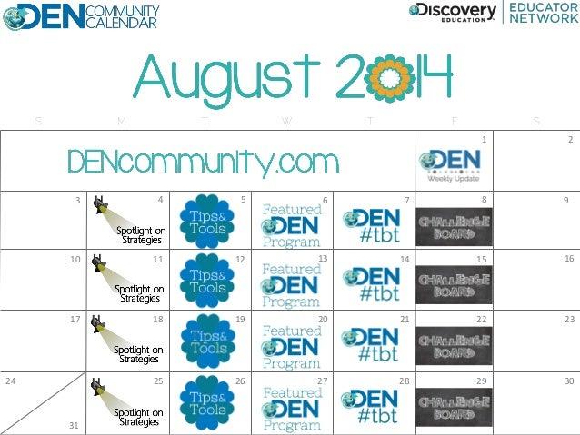 DEN Community Calendar August 2014