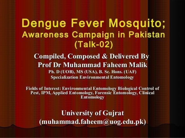 Dengue Fever Mosquito; Awareness Campaign in Pakistan (Talk 02)