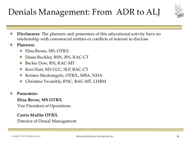 Denials Management From ADR To ALJ