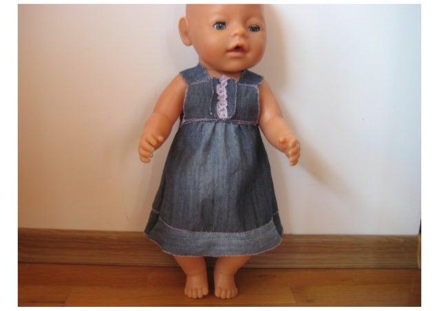 Denim dress for Zapf Baby Born doll - free pattern