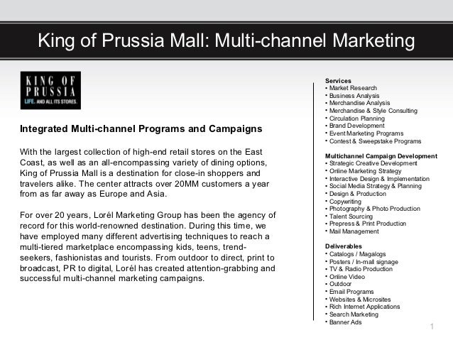 King of Prussia Mall: Multi-channel Marketing                                                                       Servic...