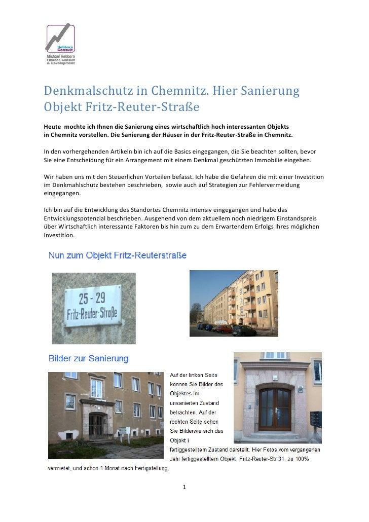 DenkmalschutzinChemnitz.HierSanierungObjektFritz‐Reuter‐StraßeHeutemochteichIhnendieSanierungeineswirtsc...