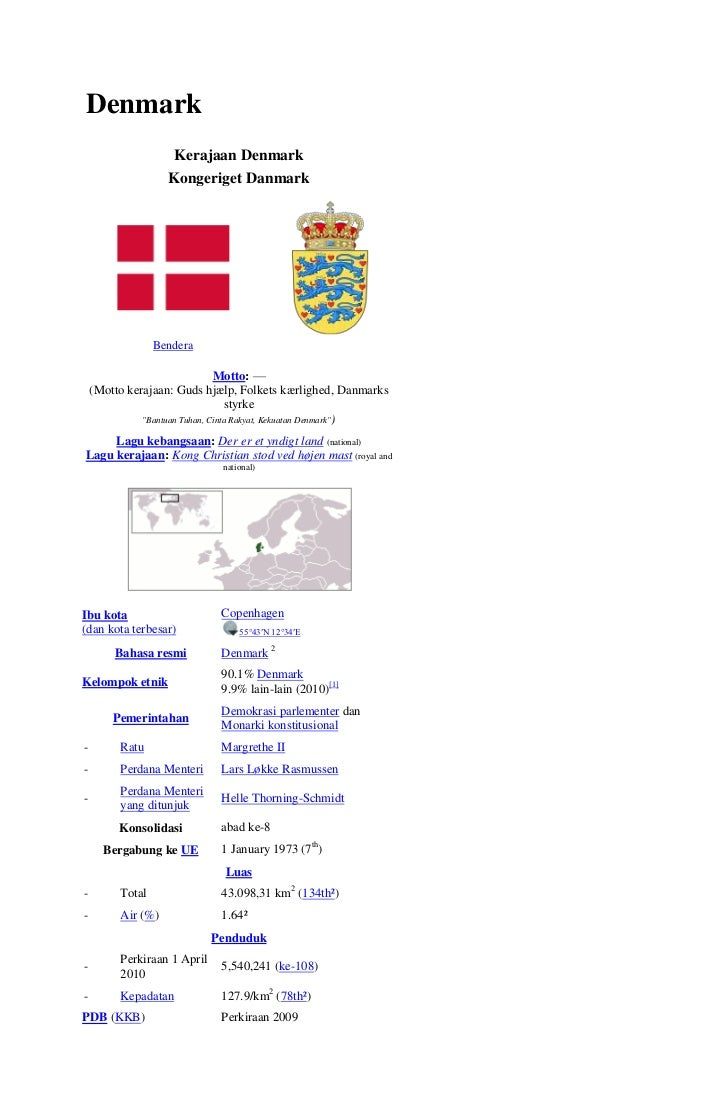 Denmark                     Kerajaan Denmark                    Kongeriget Danmark                  Bendera               ...