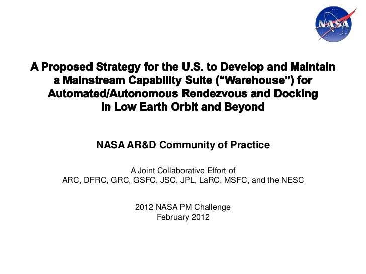 NASA AR&D Community of Practice               A Joint Collaborative Effort ofARC, DFRC, GRC, GSFC, JSC, JPL, LaRC, MSFC, a...