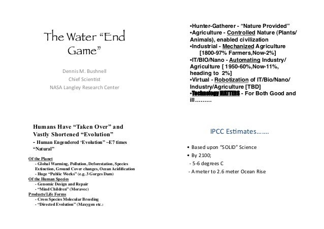 """The Water """"End Game""""! !""""##$%&'(&)*%+#"""",,& -+$"""".&/0$""""#1%2& 34/4&56#7,""""8&9""""%""""6:0+&-""""#2"""":& •Hunter-Gatherer - """"Nature Provid..."""