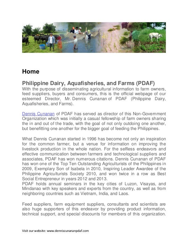 Home Philippine Dairy, Aquafisheries, and Farms (PDAF) With the purpose of disseminating agricultural information to farm ...