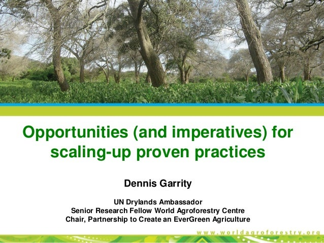 Opportunities (and imperatives) for scaling-up proven practices Dennis Garrity UN Drylands Ambassador Senior Research Fell...