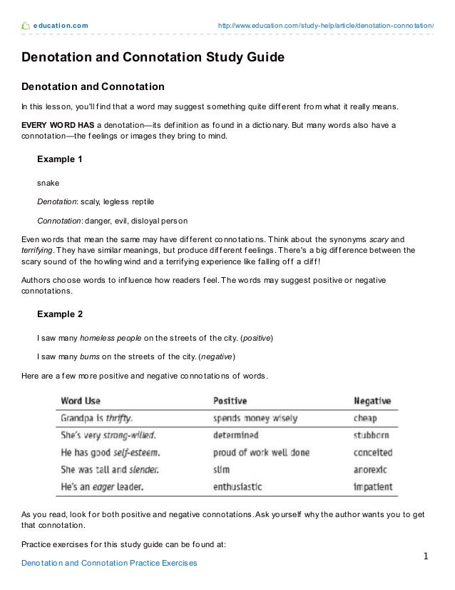 Connotation And Denotation Worksheets For Middle School – Connotation and Denotation Worksheets