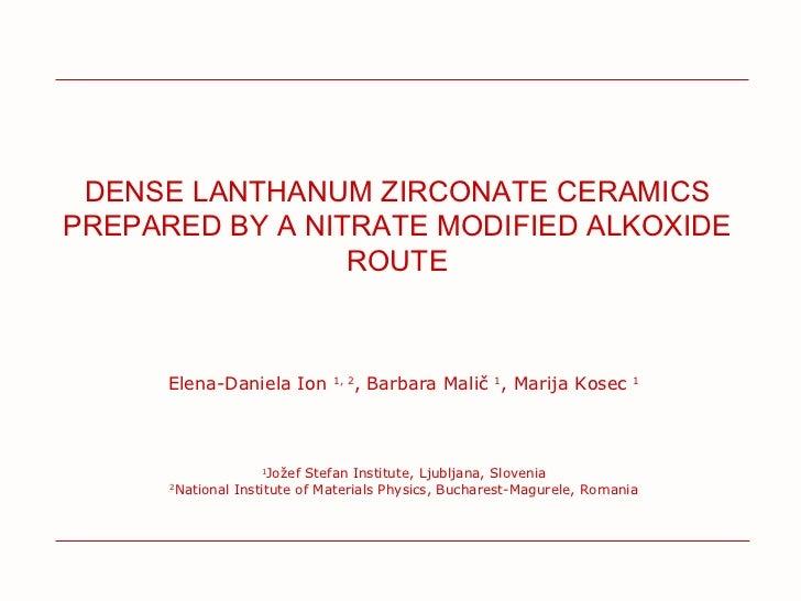 Dense Lanthanum Zirconate Ceramics