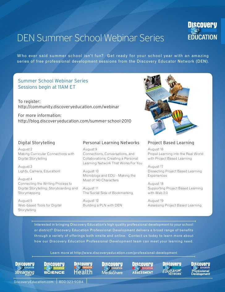 DEN Summer School webinars