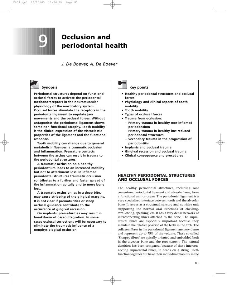 Ch09.qxd   10/10/03   11:54 AM   Page 83               9             Occlusion and                             periodontal...