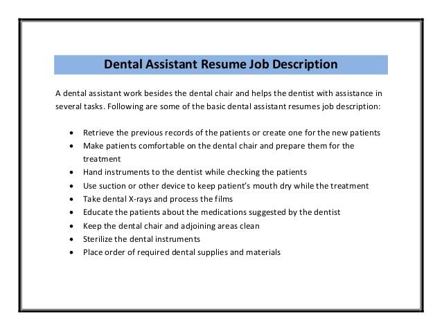 dental assistant job description for resumes