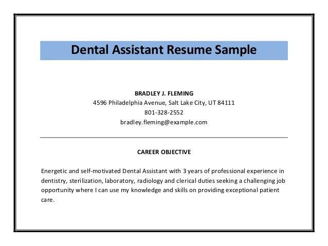 objective for dental assistant resume