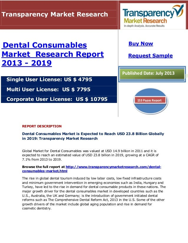 REPORT DESCRIPTION Dental Consumables Market is Expected to Reach USD 23.8 Billion Globally in 2019: Transparency Market R...