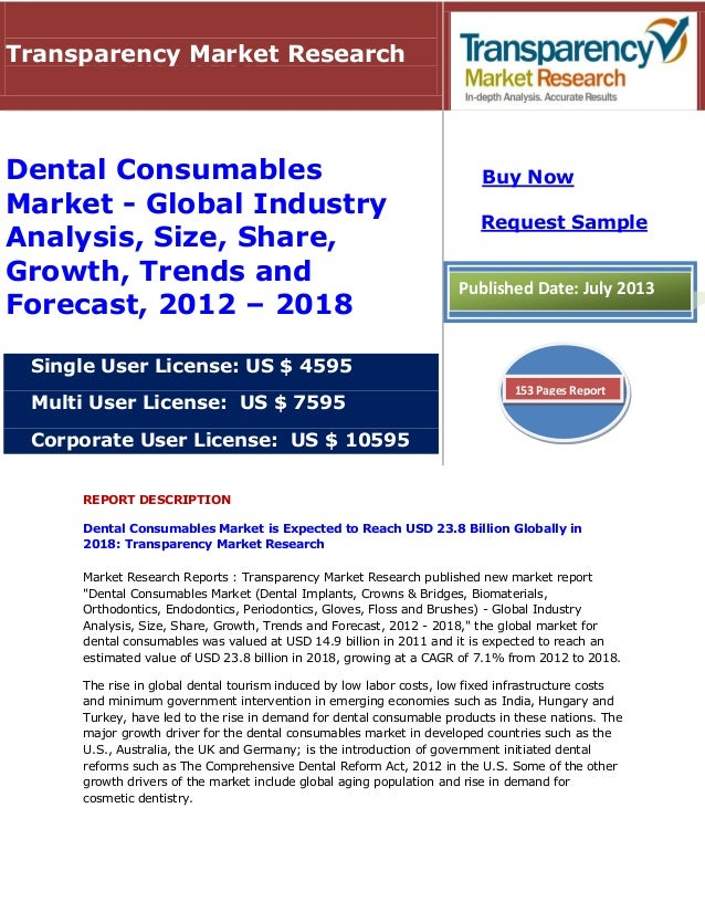 REPORT DESCRIPTION Dental Consumables Market is Expected to Reach USD 23.8 Billion Globally in 2018: Transparency Market R...