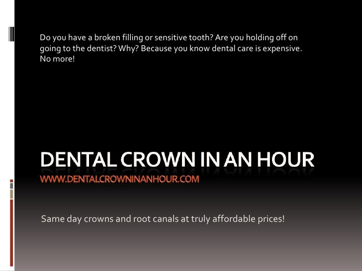 Do you have a broken filling or sensitive tooth? Are you holding off ongoing to the dentist? Why? Because you know dental ...