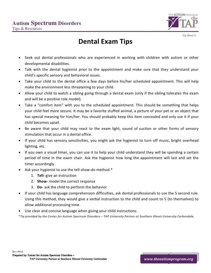 TAP Tip Sheet - Dental Exam Tips