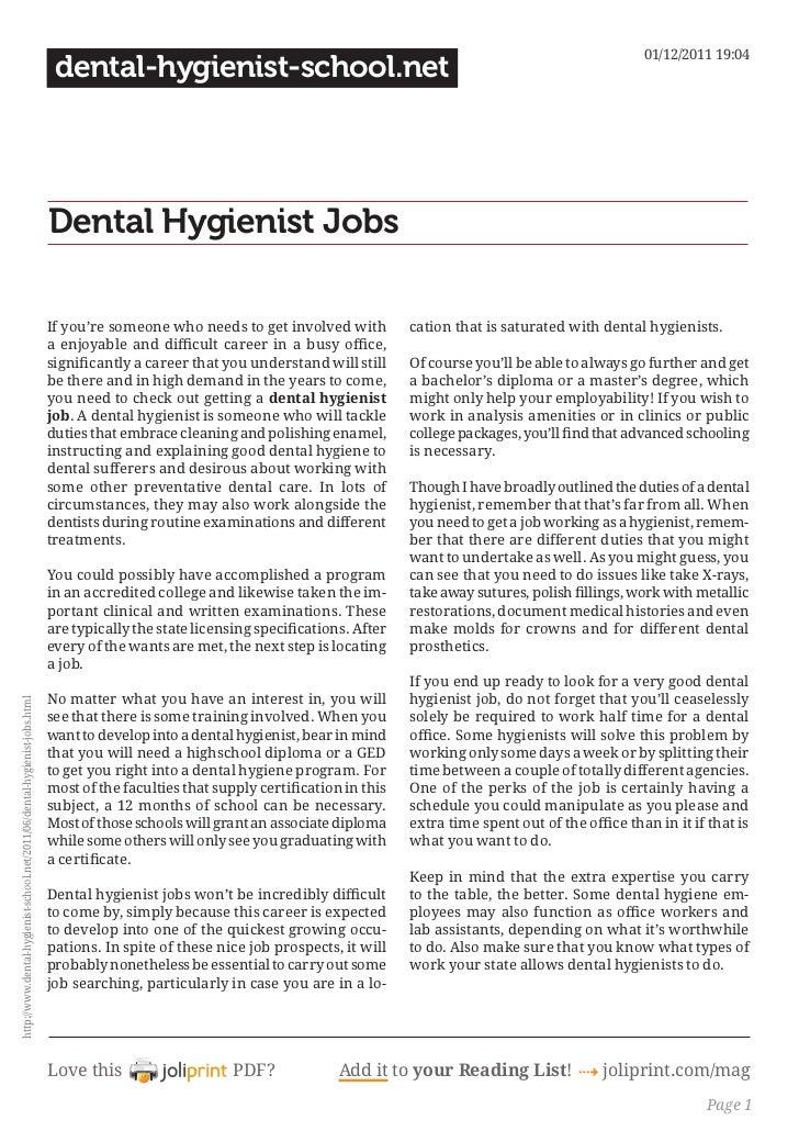 Dental hygienist jobs