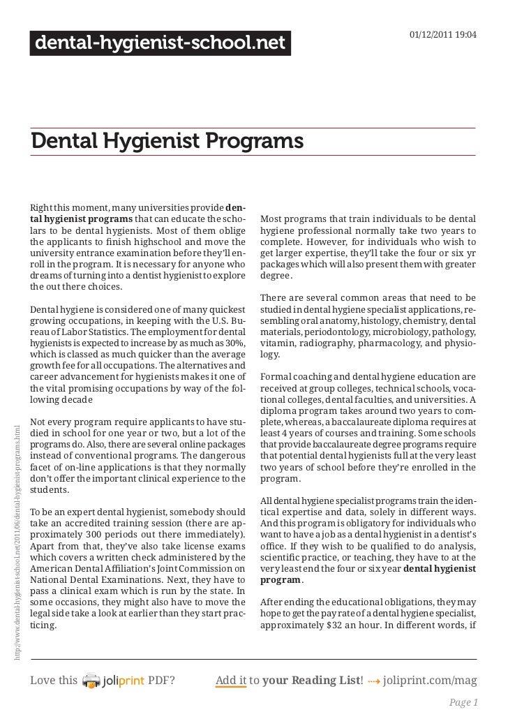Dental hygienist programs