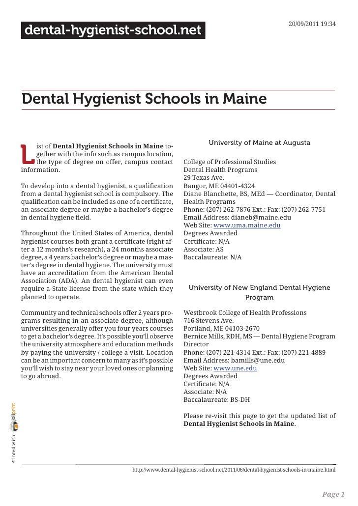 Dental hygienist schools in maine
