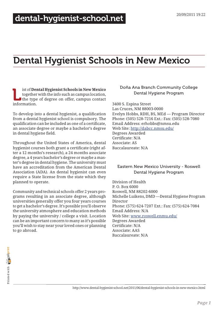 Dental hygienist schools in new mexico
