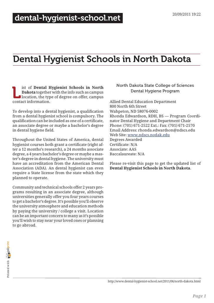 Dental hygienist schools in north dakota