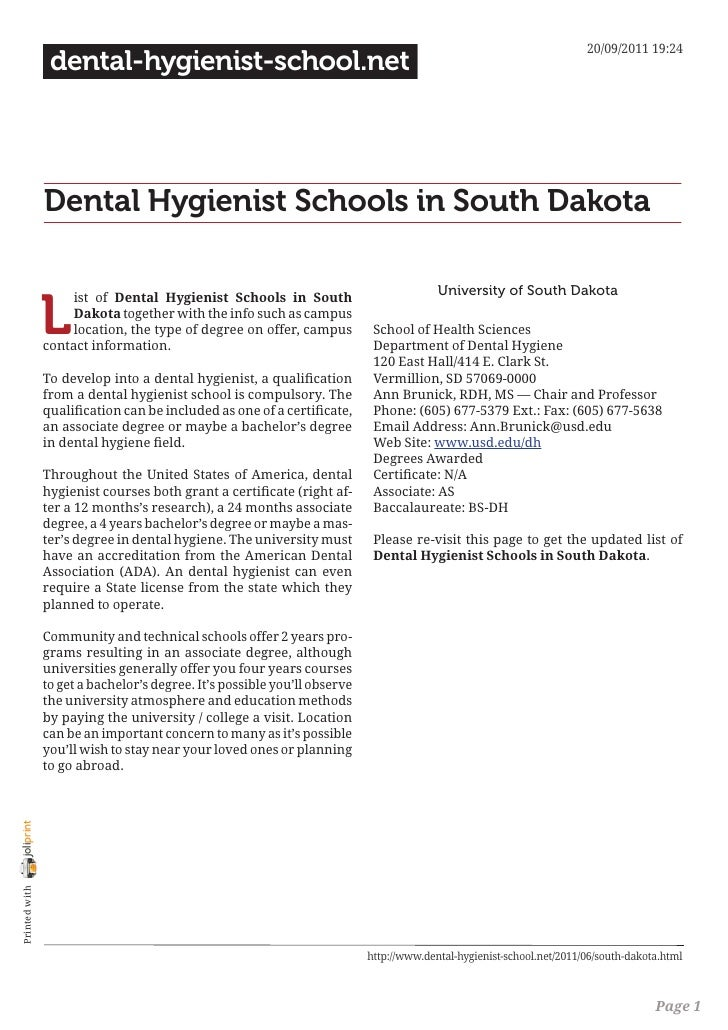 Dental hygienist schools in south dakota