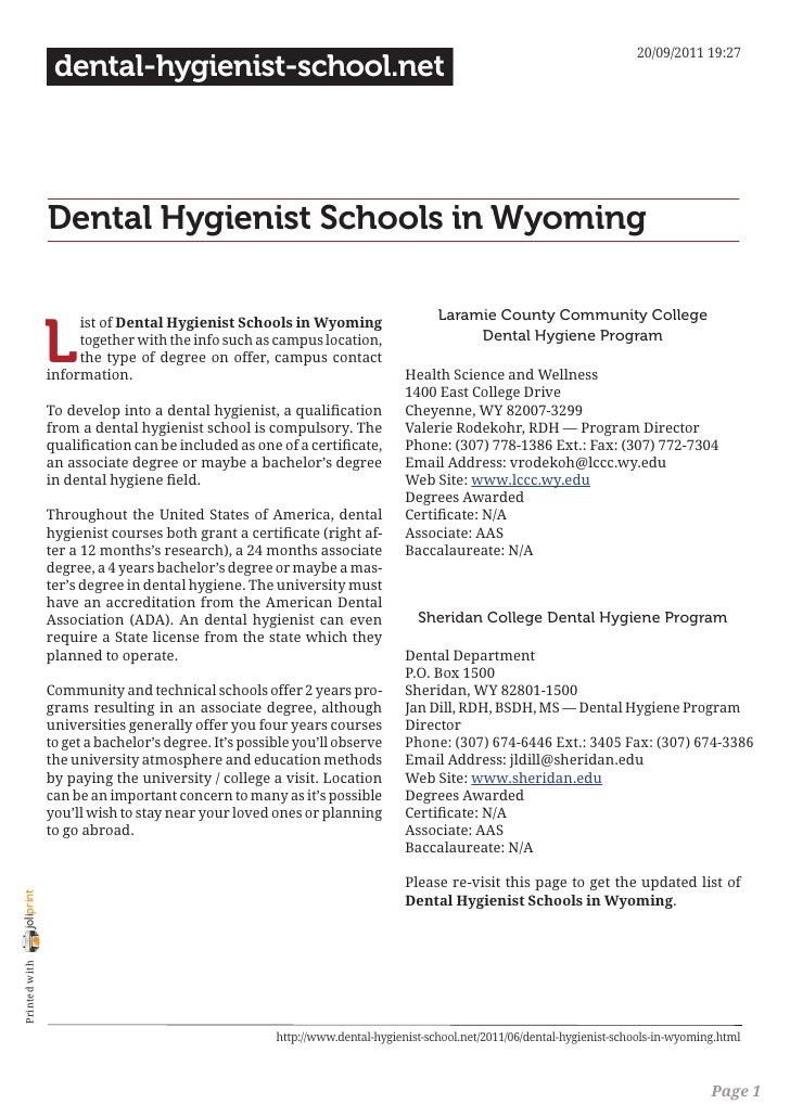 Dental hygienist schools in wyoming