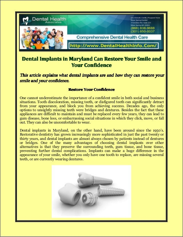Dental Implants in Maryland Can Restore Your Smile and Your Confidence