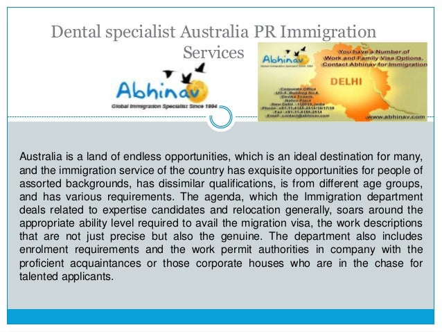 dental specialist australia pr immigration services