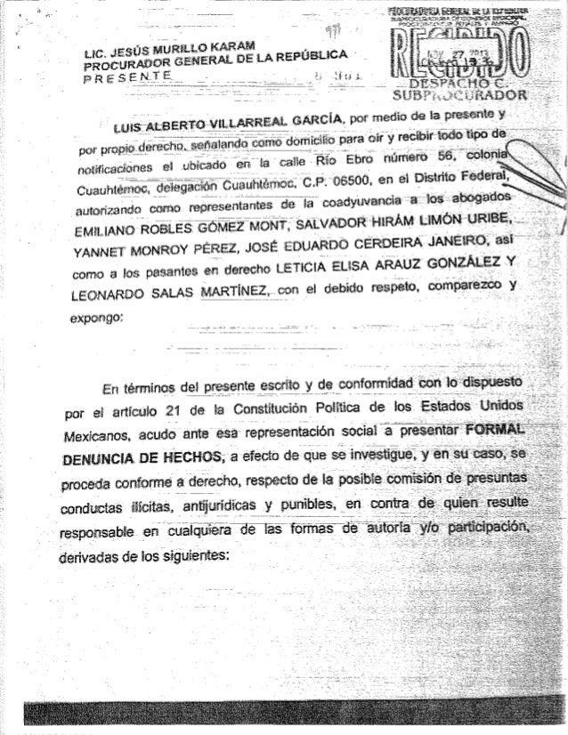 Denuncia interpuesta ante la PGR por el Dip.Luis Alberto Villarreal