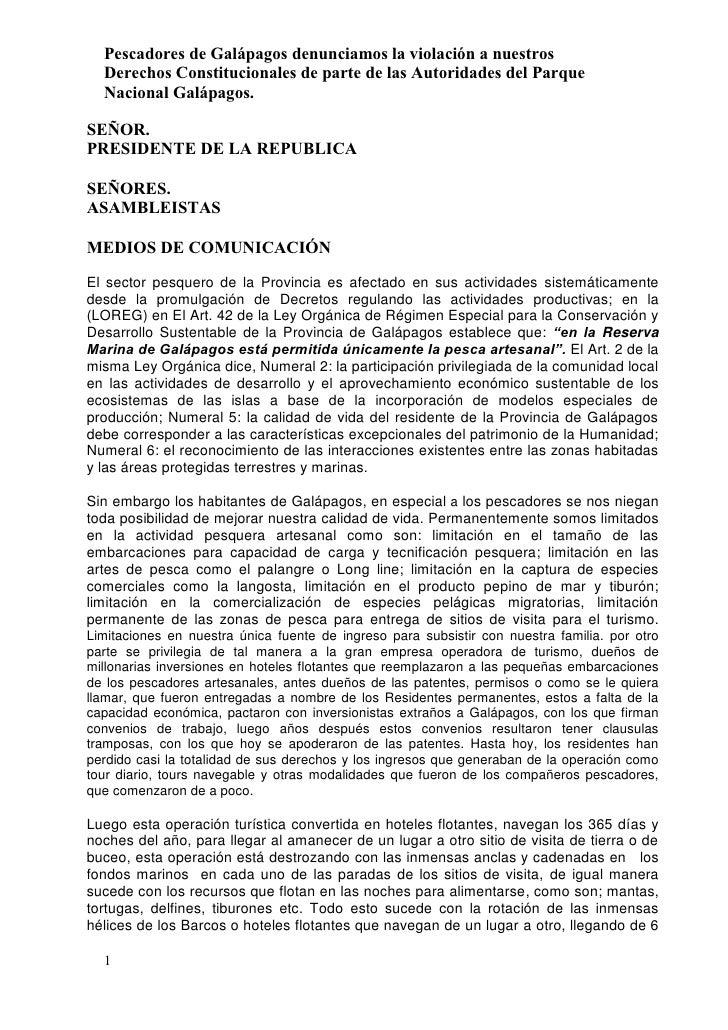 Pescadores de Galápagos denunciamos la violación a nuestros  Derechos Constitucionales de parte de las Autoridades del Par...