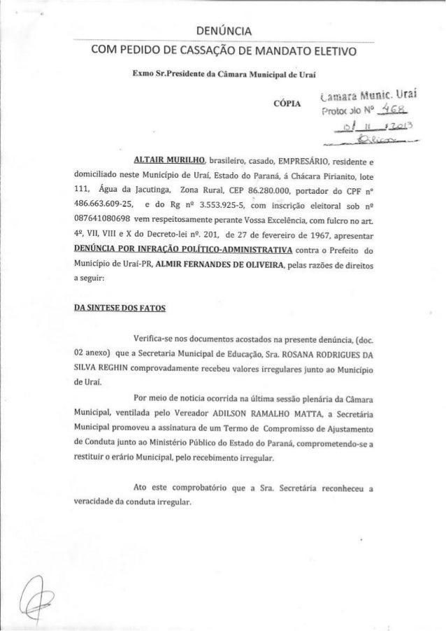 Denuncia contra o prefeito Almir Oliveira, de Uraí