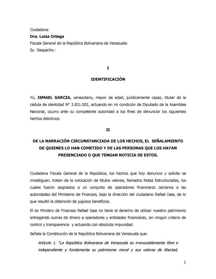 Ciudadana: Dra. Luisa Ortega Fiscala General de la República Bolivariana de Venezuela. Su Despacho.-                      ...