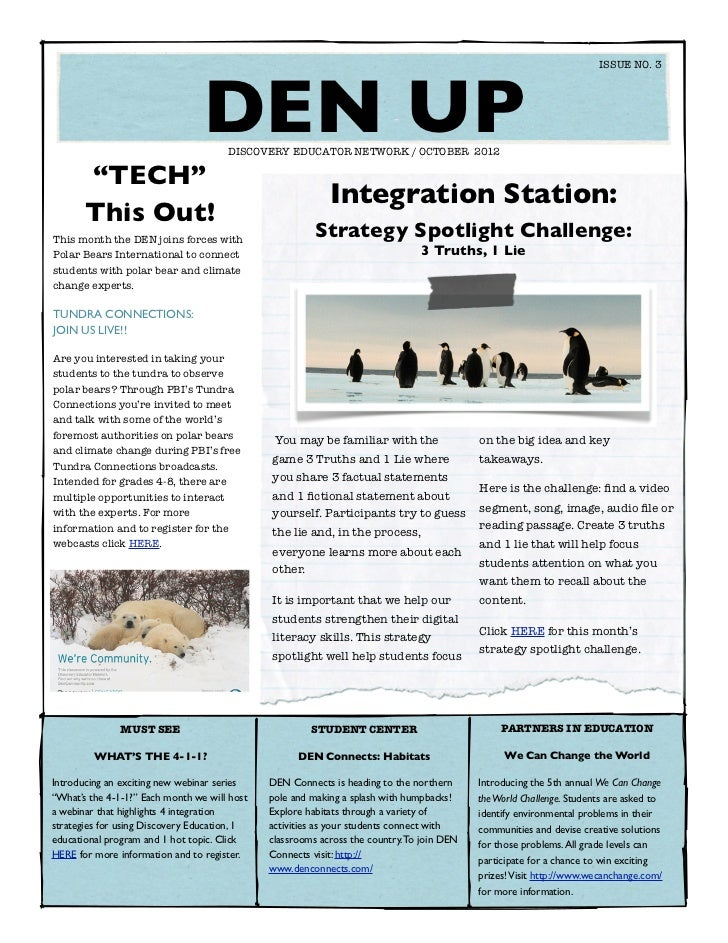 ISSUE NO. 3                                   DEN UP                                      DISCOVERY EDUCATOR NETWORK / OC...