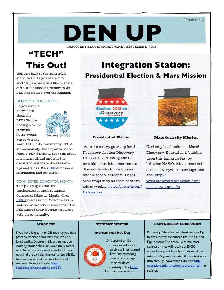 DEN UP Newsletter September 2012