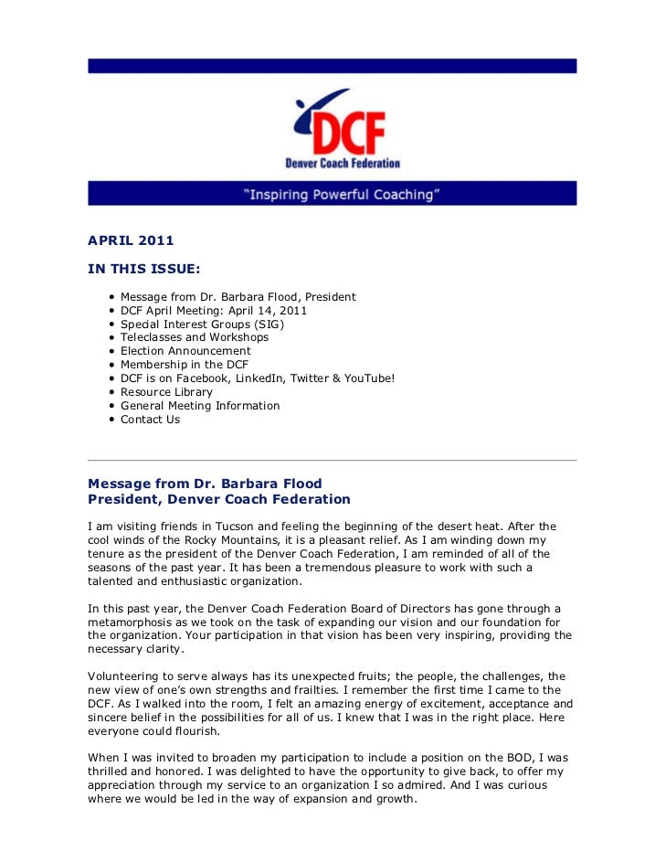 Denver Coach Federation April 2011 Newsletter