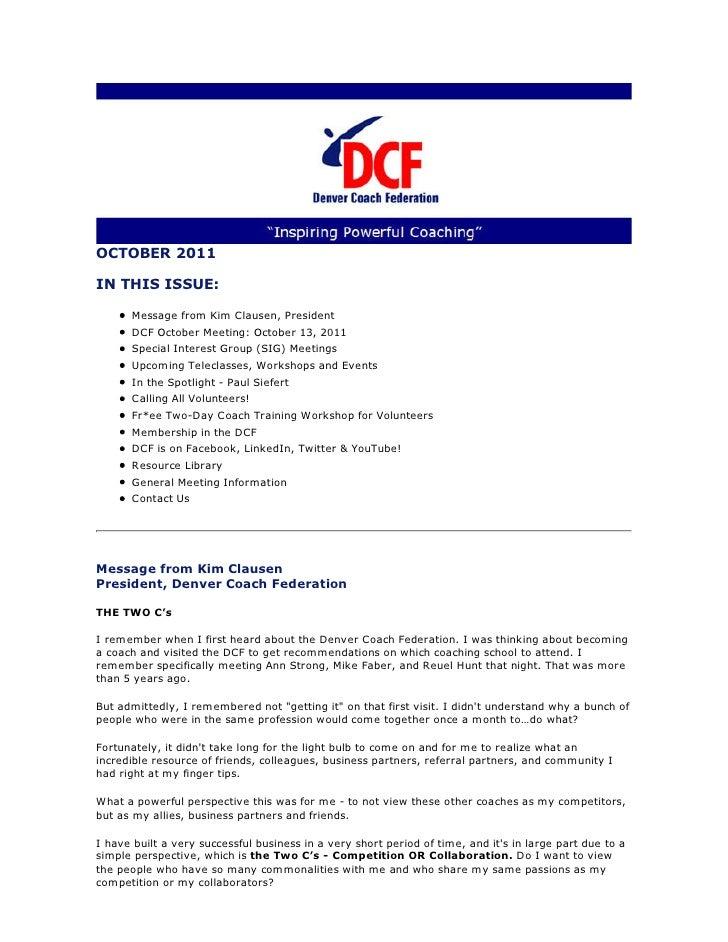 Denver Coach Federation Newsletter October 2011