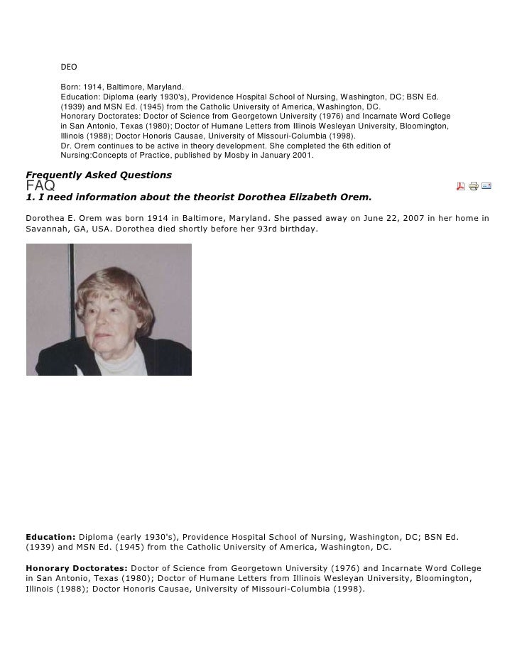 DEO<br />Born: 1914, Baltimore, Maryland.Education: Diploma (early 1930's), Providence Hospital School of Nursing, Washing...