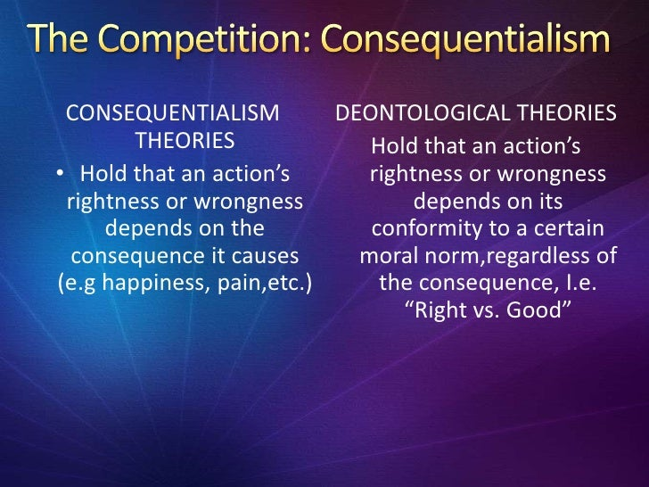 deontological ethics Teleological ethics: teleological ethics, (teleological from greek telos, end logos, science), theory of morality that derives duty or moral obligation from what is good or desirable as an end to be achieved also known as consequentialist ethics, it is opposed to deontological.